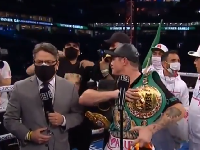Canelo's interview was interrupted.
