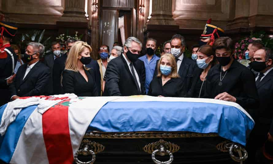 A funeral ceremony held for Former Argentine President Carlos Menem at the congress centre in Buenos Aires, Argentina, on February 15, 2021.