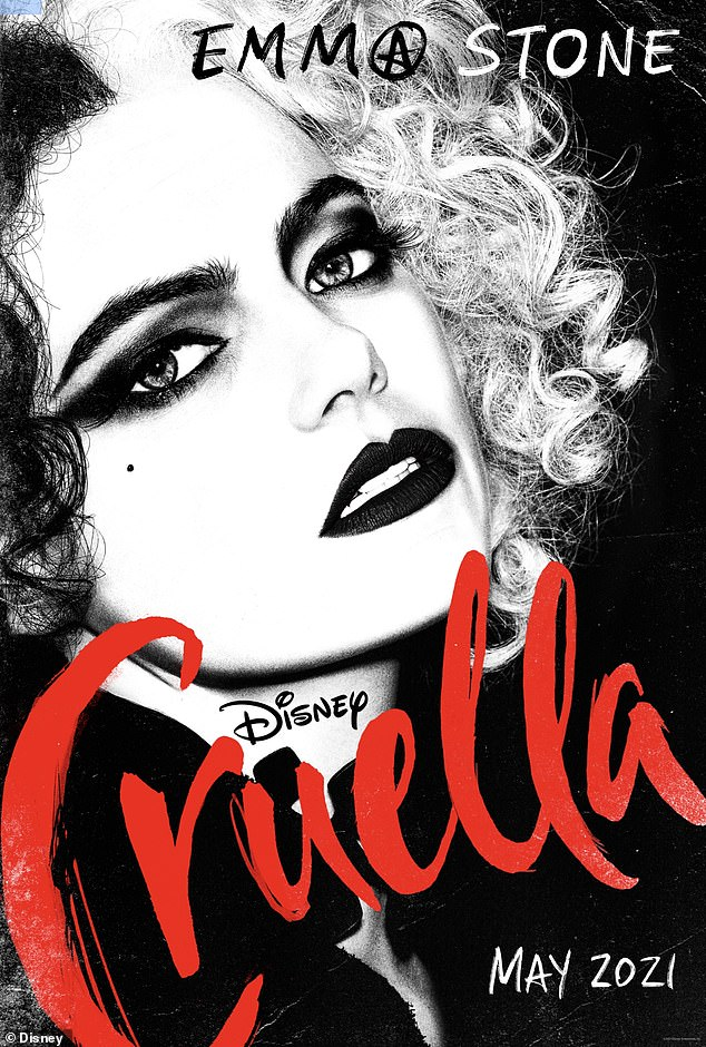 New look:The first poster for the Disney film Cruella was shared on Tuesday morning. Emma Stone can be seen as the title character Cruella de Vil from Disney's 101 Dalmatians in new movie, Cruella