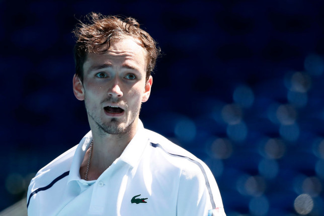 Daniil Medvedev of Russia reacts in his Men's Singles third round match against Filip Krajinovic of Serbia during day six of the 2021 Australian Open at Melbourne Park on February 13, 2021 in Melbourne, Australia.