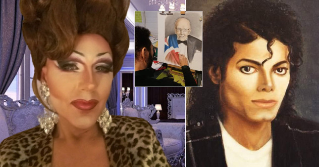 Drag artist next to painting of Michael Jackson