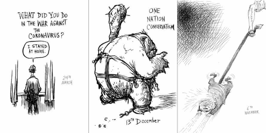 Three cartoons by Chris Riddell from 'Five Years…'