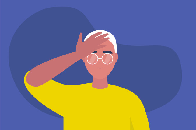 Facepalm gesture. Problem. Trouble. Young male character with a hand palm on a forehead. Conceptual flat editable vector illustration, clip art