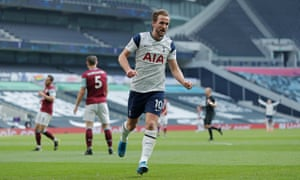 Harry Kane celebrates after scoring Spurs' second.