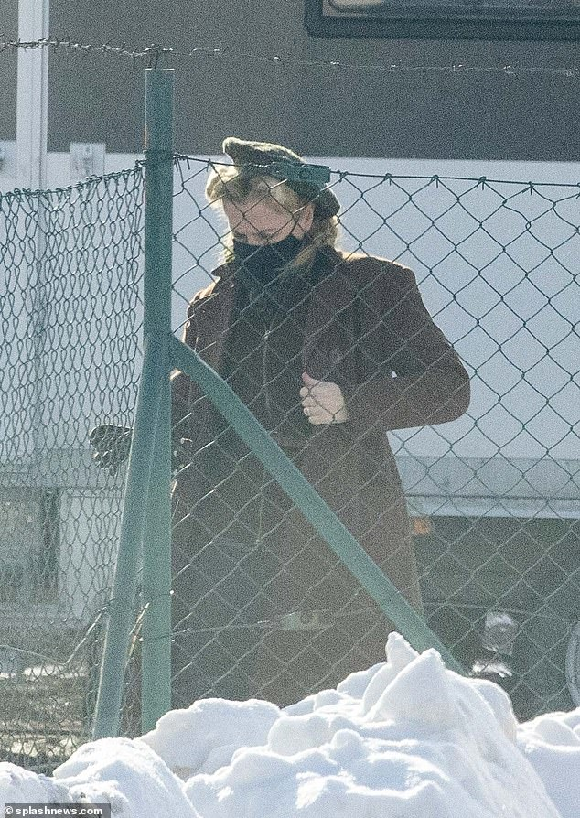Low-key:Gillian Anderson has been pictured for the first time since reuniting with her partner Peter Morgan following his brief romance with Jemima Khan