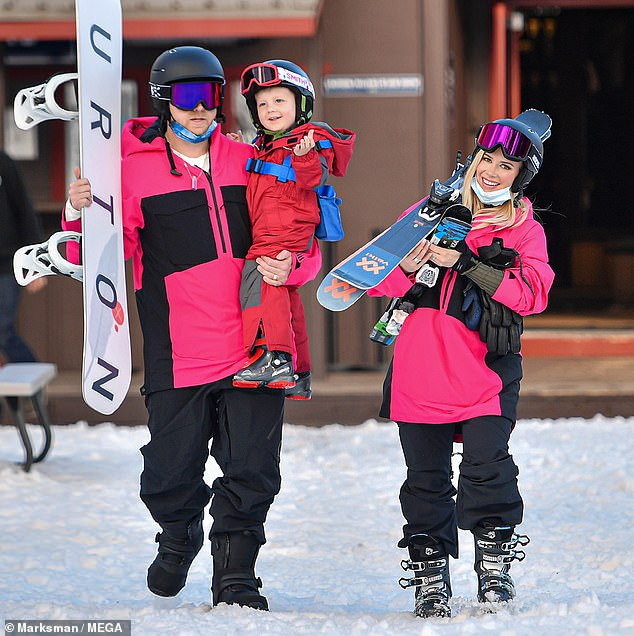 Family time: Spencer Pratt and Heidi Montag headed to California's snow-packed hills to enjoy a bit of skiing withthree-year-old son Gunner Stone in Lake Tahoe on Thursday