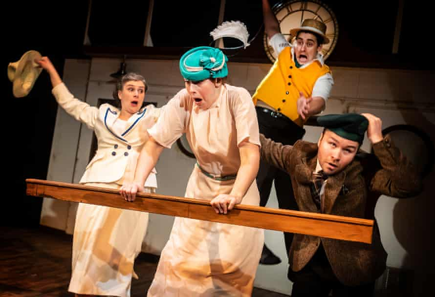 Heather (second left, blue hat) and Feargus (second from right, yellow waistcoat) in Crimes on the Nile at Theatre Royal Bath in 2019.
