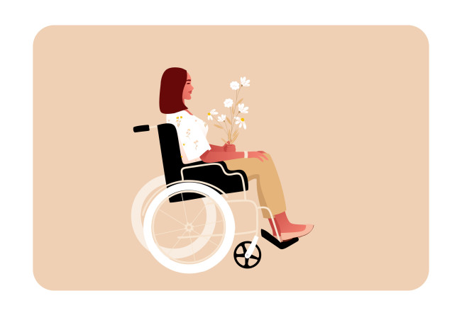 Illustrated woman in a wheelchair