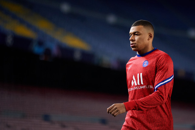 Liverpool transfer target Kylian Mbappe looks on ahead of PSG's Champions League clash with Barcelona