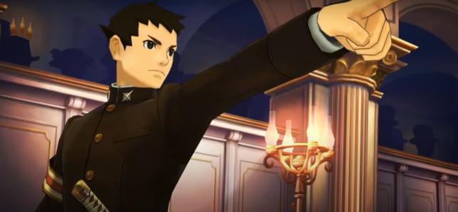 Great Ace Attorney Ryunosuke Naruhodo pointing Capcom