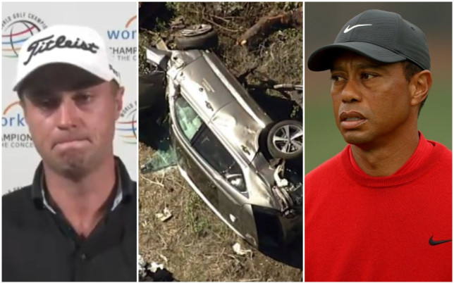 Justin Thomas was visibly upset over the news of Tiger Woods' car crash