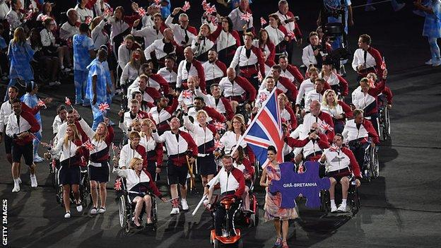The GB team at the Rio Paralympics opening ceremony