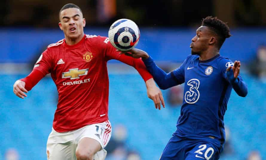 Callum Hudson-Odoi appears to handle the ball under pressure from Mason Greenwood.