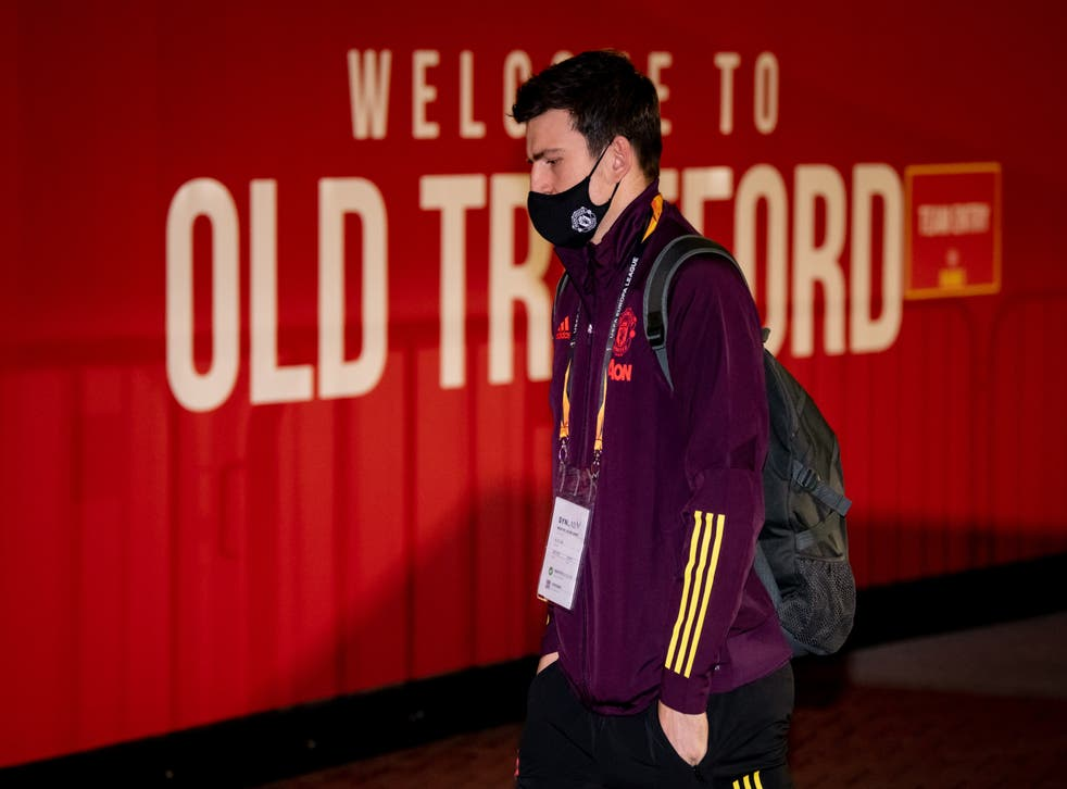 Harry Maguire arrives at Old Trafford