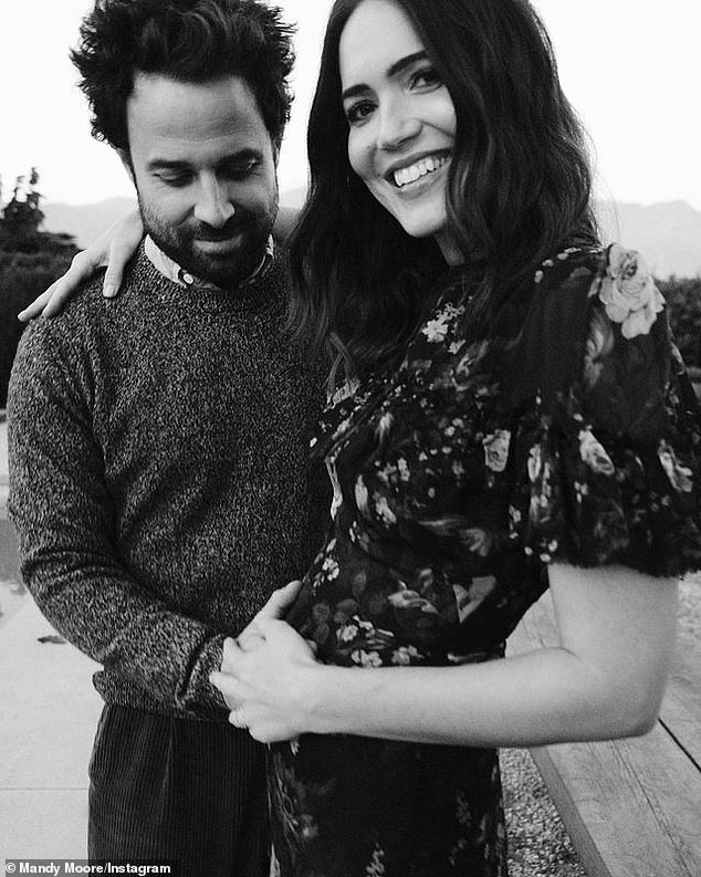 Oh joy: Mandy Moore has welcomed her first child with husband Taylor Goldsmith. The This Is Us actress shared the news on Tuesday on her Instagram account