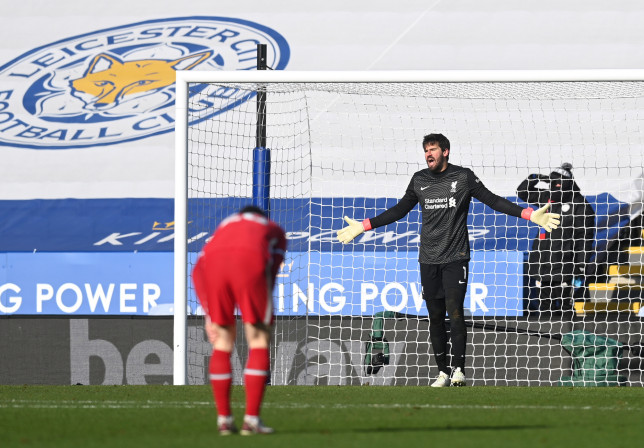 Alisson looks on during Liverpool's Premier League defeat to Leicester