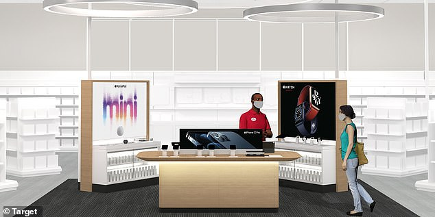 Target is launching mini Apple shops inside 17 of its locations that will included dedicated Target Tech Consultants in place of the tech giant's geniuses. The new design will provide products in a dedicate space with bright lighting and lower tables - just like a traditional Apple Store