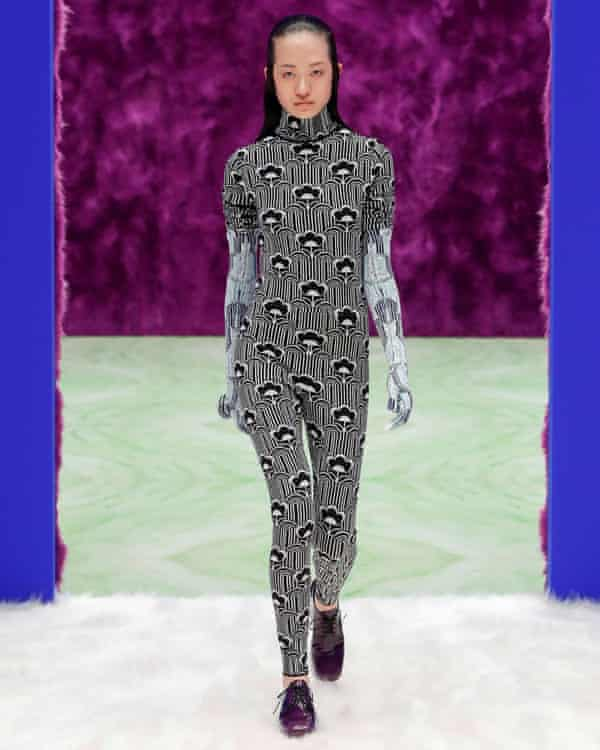 A psychedelic-print bodysuits from the Prada catwalk