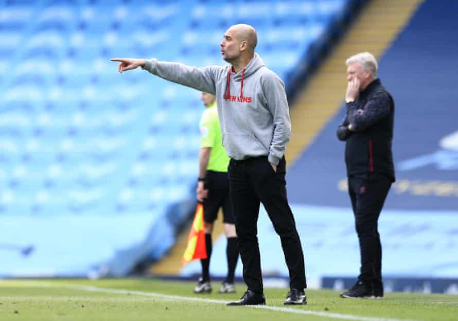 Pep Guardiola directs his City side against West Ham