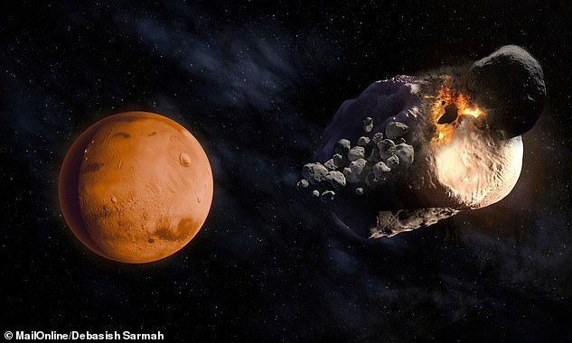 Mars' pair of moons — Phobos and Deimos — are two fragments of what was once a much larger Martian moon which was blown apart by a stray asteroid. It is believed the collision occurred between one and 2.7 billion years ago (pictured, artist's impression)