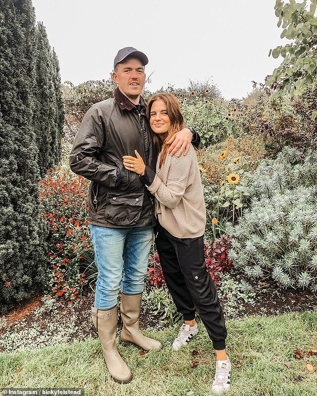 Heartbreaking: Binky Felstead has revealed that her fiancé Max Fredrik Darnton felt 'hopeless' after their first pregnancy together ended in miscarriage last year