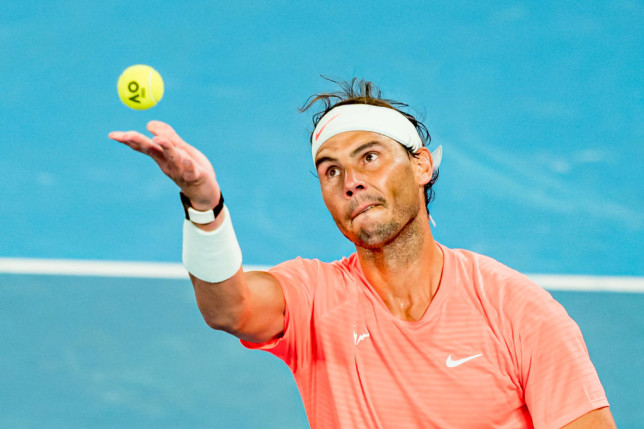 Rafael Nadal of Spain serves in his Men's Singles third round match against Cameron Norrie of Great Britain during day six of the 2021 Australian Open at Melbourne Park on February 13, 2021 in Melbourne, Australia.