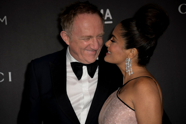 epa07968871 US-Mexican actress Salma Hayek (R) and her husband, Francois-Henri Pinault (L), react upon their arrival at the 2019 LACMA Art + Film Gala at the Los Angeles County Museum of Art in Los Angeles, California, USA, 02 November 2019. EPA/CHRISTIAN MONTERROSA