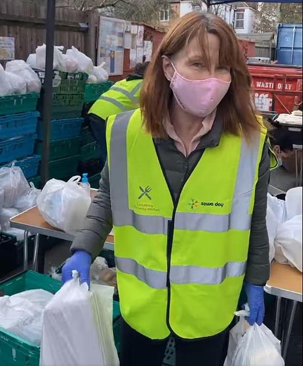 Kay Burley was seen volunteering at a food bank in February