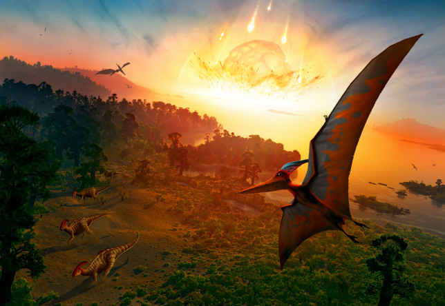 Artwork depicting the extinction of the dinosaurs, some 65 million years ago (Credits: Getty Images/Science Photo Library RM)