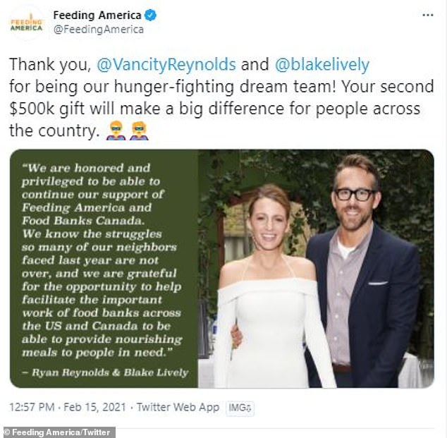 Good people:'When #COVID19 first hit in early 2020, @VanCityReynolds and @BlakeLively generously donated $500K (USD) to US sister organization @FeedingAmerica and to Food Banks Canada helping kickstart our COVID-19 Response Funds,' it was written by the organization on social media
