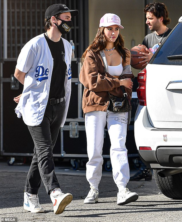 Cloud nine: A whirlwind day for the protege of Justin Bieber, she looked in high spirits as she wasted no time getting straight to work on something special