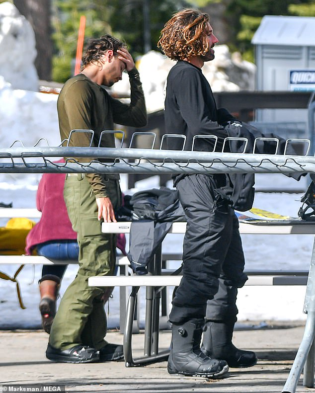 Winter hills: Body Jenner andBrandon Thomas Lee joined the crew to shoot scenes for The Hills: New Beginnings at a ski resort in Lake Tahoe