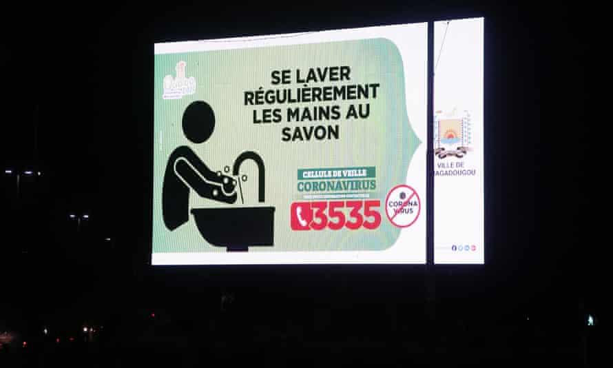 A billboard displaying a Covid awareness message in Ouagadougou, Burkina Faso, in November 2020
