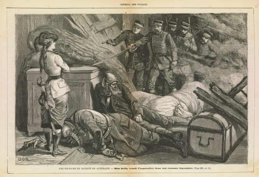 This engraving featuring Kate Kelly appeared in the French newspaper Journal des Voyages, 1883