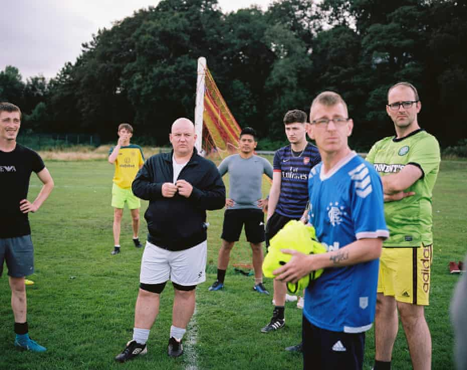 """Fraser on the Men Matter Football team, playing every week at Cloquhoun park. """"It's a safety net. It becomes a brotherhood, everybody becomes a brother and you look out for each other. If something happens you've got a good group of guys round about yea to help yea."""" Fraser."""