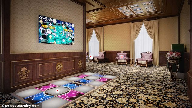 Astonishing 3D images of the estate's interior allege 'Putin's palace' features an arcade room (pictured), a spa and a theatre inside the mansion, along with an underground ice rink and even vineyards in the grounds