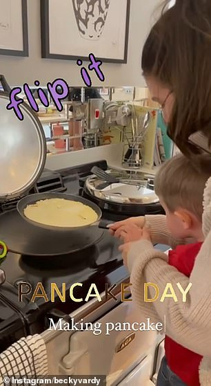 This is awkward: Dancing On Ice star Rebekah Vardy appeared to be struggling as she endeavored to make pancakes for her five children