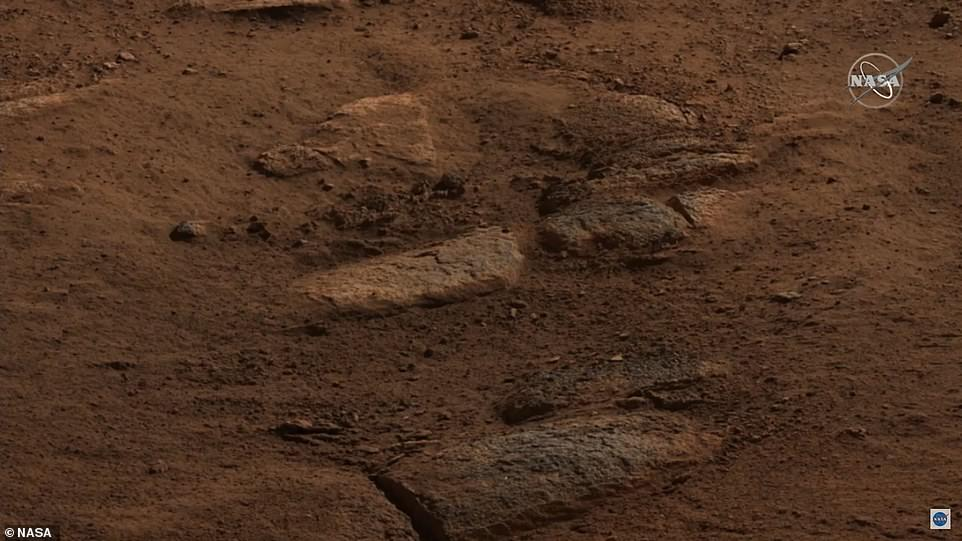 Northeast of the rover are structures littering the ground that could have came from an ancient volcano