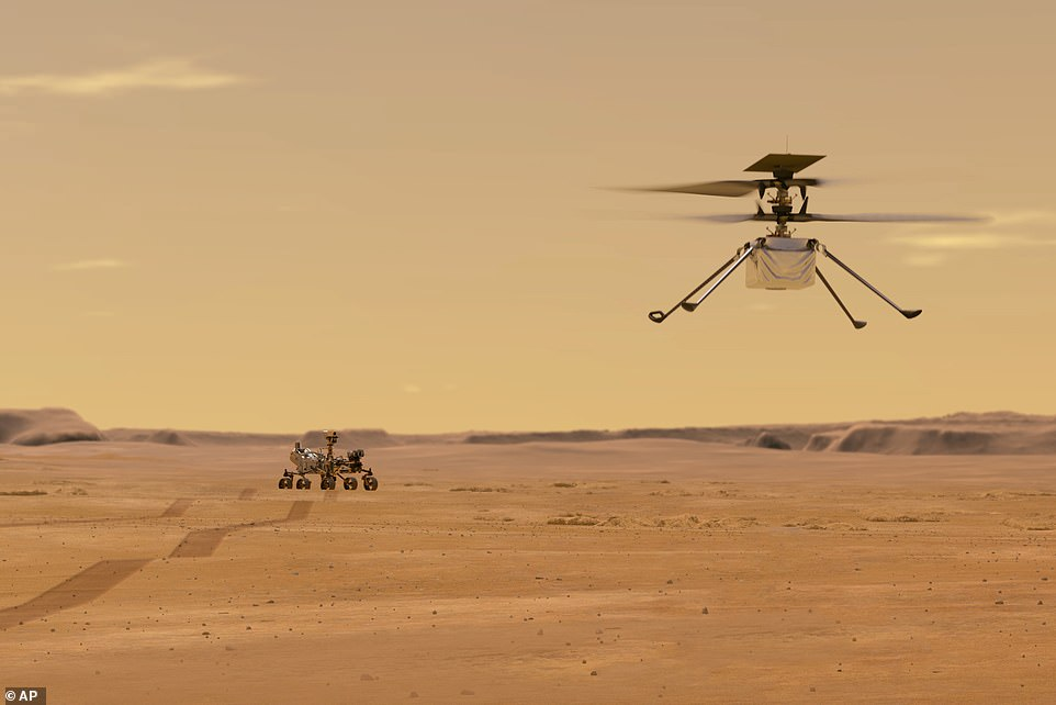 The first act of Perseverance — which has been based on the blueprint of Curiosity and is the seven feet tall, nine feet wide and weighs 2,260 pounds — will be to release its accompanying Ingenuity helicopter (pictured). The copter will fly at an altitude that is similar to 100,000 feet on Earth, allowing it to gather geology data in areas the rover is unable to reach