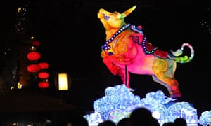 A bull-shaped lantern is seen at Laomendong historic block to mark the Year of the Ox in Nanjing, Jiangsu Province of China.