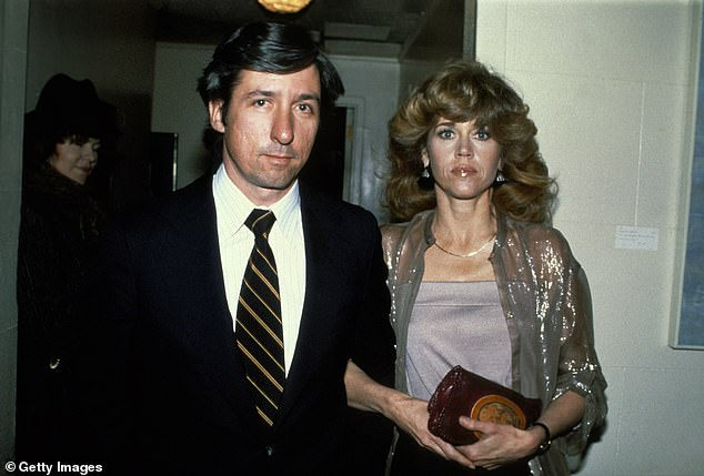 With husband #2: The star is seen with politician Tom Hayden at the premiere of The China Syndrome in 1979