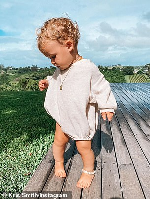Country lasses: Kris shared more photos of his girls on Instagram from the holiday home in the countryside. Picturedright is little Frankie