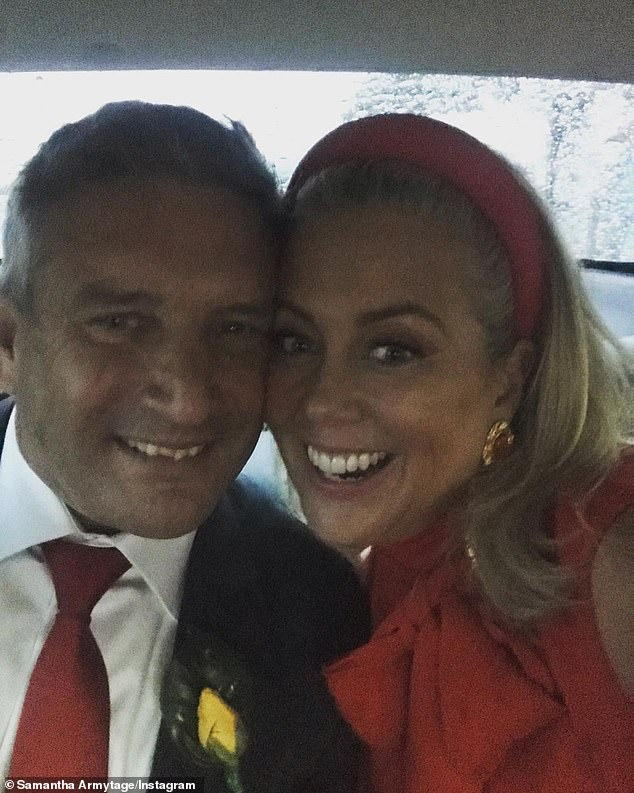 Married life: Sam is pictured with new husband Richard Lavender