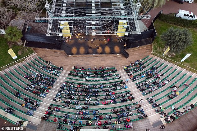 A concert by Israeli singer Nurit Galron is taking place for people with a 'Green Pass', who are vaccinated against the coronavirus disease (COVID-19) or those with presumed immunity, at Yarkon park, in Tel Aviv last night