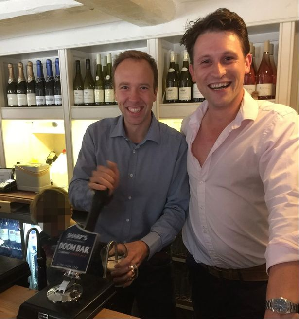 Matt Hancock with Alex Bourne at his former pub, the Cock Inn, in Thurlow