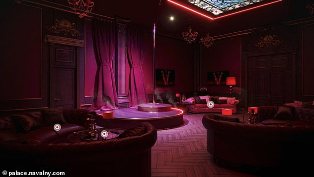 Navalny claimed a strip club, casino and a theatre are among a series of luxurious rooms inside the palace and mocked up 3D images using floor plans provided by constructors