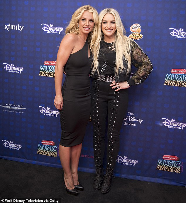 Celebrity guest: Jamie was only present at the virtual rally for about 10 minutes, but Britney's fans gleefully noted her presence; seen together with Britney in 2017 in LA