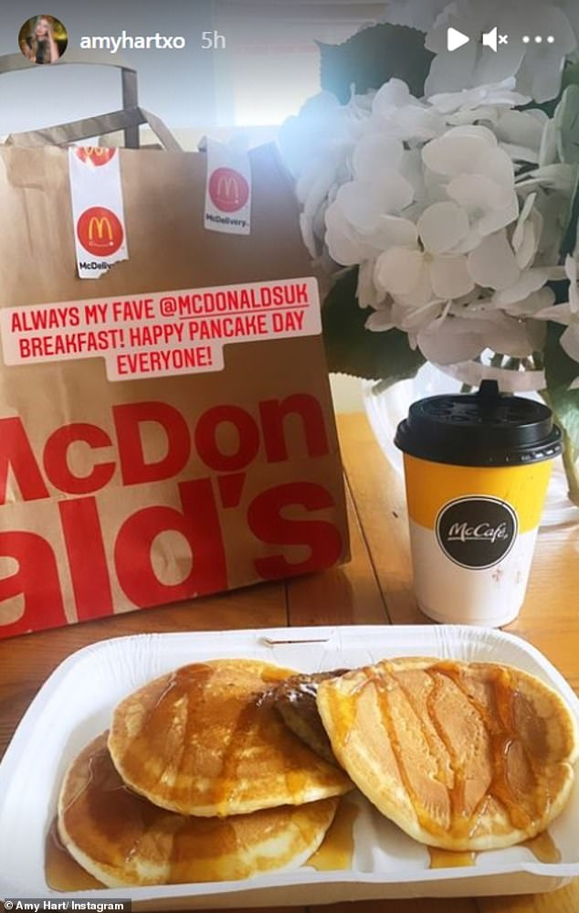 Looking good: Meanwhile fellow former Love Islander Amy Hart took the easy route by buyin g her pancakes at McDonalds