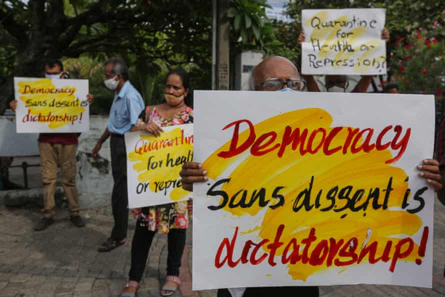 Sri Lankan civil rights activists and trade union members protest in Colombo on 16 June 2020. They say quarantine laws violate the democratic freedom of speech, assembly, and protest.