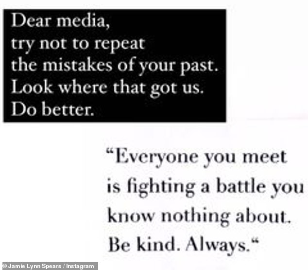 Do better: She later reposted it, adding her own words: 'Dear media, try not to repeat the mistakes of your past. Look where that got us. Do better'